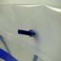 Exklusive Kunststofftasche für die Deutsche Bank in transparent mit blauem Aufdruck in Nahaufnahme
