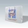 Kleine, exklusive Papiertasche in Weiß mit kurzen Kunststofftragebändern