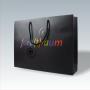 """Exklusive Papiertasche """"farb(t)raum"""" in Schwarz, matt laminiert mit UV Spot Lack, kurze Trageschlaufen aus Baumwolle"""