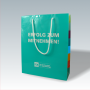 """Exklusive Papiertasche """"FOM"""" mit glänzender Laminierung und mehrfarbig bedruckten Seitenteilen"""