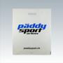 """Plastiktüte """"päddy sport arbon"""" in Weiß mit schwarz-blauem Druck und verstärktem Griffloch"""