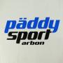 """Plastiktüte """"päddy sport arbon"""" in Weiß mit schwarz-blauem Druck und verstärktem Griffloch in Nahaufnahme"""