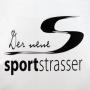 """Plastiktüte """"sportstrasser"""" in Weiß mit schwarzem Druck in Nahaufnahme"""