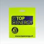 """Plastiktüte """"TOP Energy"""" in Gelb mit dunkelblauem Druck und verstärkten Grifflöchern"""