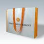 PP Woven Tasche in Weiß mit orangenen Akzenten