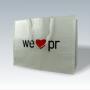 """Große PP Woven Tasche """"we love pr"""" in Weiß mit Kunststofftragebändern"""