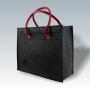 Filztasche mit roten Kunstledergriffen und Lasergravur