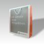"""Transparente Papiertasche """"Frankenguss"""" in Weiß mit Randumschlagverstärkung und kurzen Kordeln"""