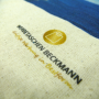 Baumwolltasche in Natur mit Fotomotiv und Logo in Nahaufnahme