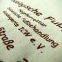 Baumwolltasche in Natur mit braunem Siebdruck in Nahaufnahme