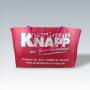 Große PP Non Woven Tasche in Pink mit weißem Siebdruck, ideal für Großeinkäufe